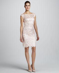 Ml Monique Lhuillier Beige Capsleeve Lace Cocktail Dress