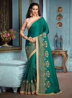 Buy Green Silk Patch Lace Work Saree 126735 with blouse online at lowest price from vast collection of sarees at m.indianclothstore.c.