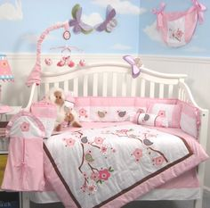SoHo Love Birds Story Baby Crib Nursery Bedding Set 13 pcs included Diaper Bag with Changing Pad & Bottle Case by SoHo Designs