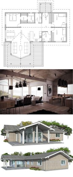 Small home plan Three bedrooms, high ceiling, affordable building