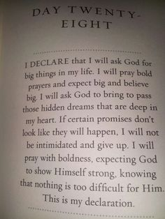 Day 28-January 28, 2013--If you learn to pray bold....it allows God to do big things in your life