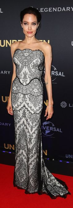Angelina Jolie wore Gucci to the world premiere of Unbroken.