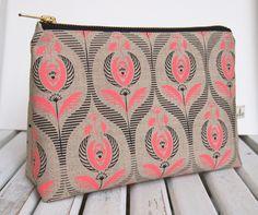 Art deco rose print make up bag - Folksy