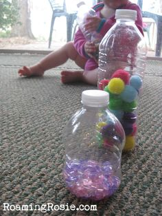Using any type of materials that can be recycled is great for sensory play - for example water bottles (as shown) egg cartons, tin cans (sandpapers so there are no rough or sharp edges) - as well as things that can be made from natural materials, such as felting...
