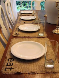 diy burlap placemats... all you need is burlap and a sharpie