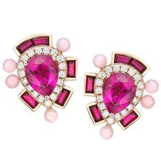 Wisteria Studs in ruby, rubelites and pink opal. Ruby Jewelry, High Jewelry, Diamond Jewelry, Gems Jewelry, Jewellery, Tourmaline Jewelry, Pink Tourmaline, Diamond Tops, Coral Bracelet