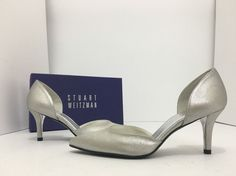 6e1a76c1d493 Stuart Weitzman Twice Chrome Silver Women s Evening High Heels Pumps Size  US 6 W