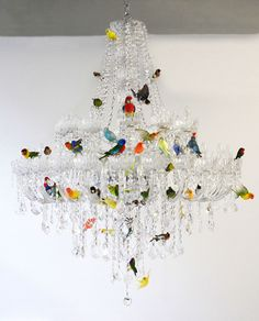 XL Bird Chandelier by Sebastian Errazuriz, a traditional crystal luminaire that is decorated with 50 taxidermied birds. His Chandelier was inspired by a similar lamp that was in the artist's grandm. Art Et Design, Deco Design, Design Design, Design Table, Chair Design, Design Ideas, House Design, Lustre Design, Chandelier Lamp