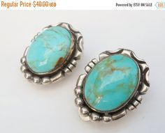 Pre Holiday Sale Sterling Turquoise Earrings by Libbysmomsvintage
