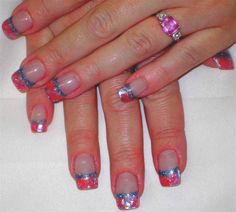 glitter nail designs | Acrylic Glitter Tips with Handpainted Design - Nail Art Archive ...