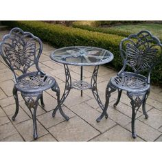 Oakland Living Butterfly Cast Aluminum 24Inch Glass Top Table with 3Piece Bistro Set Antique Pewter -- Find out more at the image link.