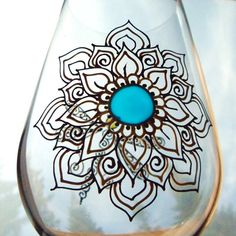 Hand painted RED WINE GLASS. Mehndi style flower. mix and match designs with dragonfly or butterfly. Rainbow of colors. Dishwasher safe.www.mehndiglass.com