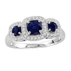 I've tagged a product on Zales: Blue Sapphire and 1/5 CT. T.W. Diamond Three Stone Frame Ring in 14K White Gold