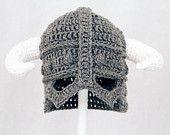 Skyrim Hat / Helmet, Crochet Grey Viking Helm with Horns,