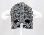 Skyrim Hat / Helmet, Crochet Grey Viking Helm with Horns,