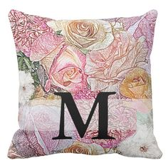Monogrammed Field of Roses in Color Pencil Throw Pillow