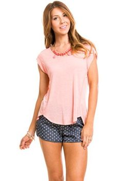 Basic Folded Tee in Pink | $16 at www.heavenlycouture.com