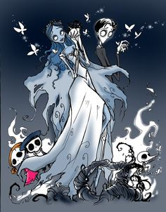 corpse bride | Emily And Victor Photo by pure_anime | Photobucket Corpse Bride Art, Emily Corpse Bride, Tim Burton Corpse Bride, Tim Burton Style, Tim Burton Art, Tim Burton Characters, Dark And Twisted, Arte Horror, Stop Motion