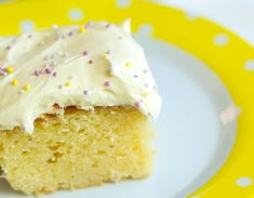 This cake is so easy to make. Everything goes in the mixer, no creaming anything. Mix and bake and frost and eat. Nobody left any on their plate at my house!