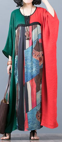 stylish red green patchwork  long silk dress