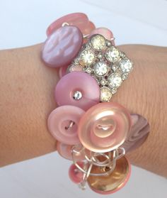 Pink Champagne Vintage Button Bracelet