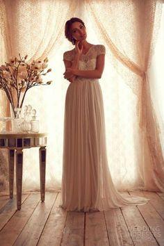 anna campbell 2013 cap sleeves illusion neckline sheath pleated wedding dress #weddingdress