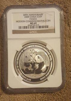 China 2009 10Y 1 Oz .999 Fine Silver Panda Coin 30th Anniversary NGC MS 69