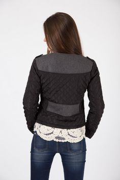 QUILTED CROP JACKET R 645.00 - Quilted sleeves - Cropped length - Asymmetric zip through front