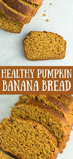 Healthy pumpkin banana bread recipe made with greek yogurt. A delicious pumpkin bread made without any oil or butter and naturally sweetened. Healthy Pumpkin Bread, Pumpkin Banana Bread, Easy Banana Bread, Vegan Pumpkin, Healthy Pumpkin Recipes, Low Calorie Banana Bread, Easy Bread Recipes, Banana Bread Recipes, Monkey Bread