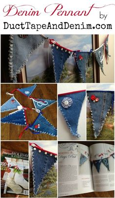 Denim Pennants or a 4th of July banner from recycled denim blue jeans. | DuctTapeAndDenim.com