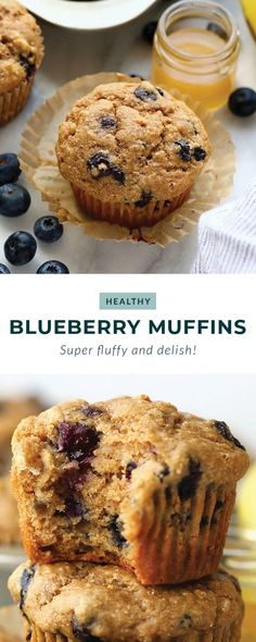 These healthy blueberry muffins are 100% whole grain and naturally sweetened with bananas and honey. At only 161 calories per muffin, you're going to love this healthy snack.
