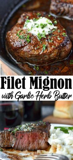This Filet Mignon with Garlic Herb Butter is full of flavor and absolutely melts in your mouth. This Filet Mignon with Garlic Herb Butter is easy and taste absolutely phenomenal! Beef Dishes, Food Dishes, Main Dishes, Pork Recipes, Cooking Recipes, Healthy Recipes, Filet Recipes, Chicken Recipes, Steak Recipes
