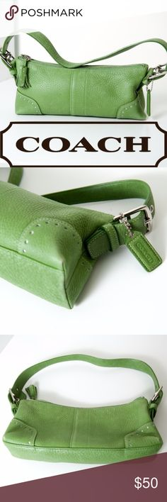 """Coach Demi Hobo Soho Green Pebbled Leather Mini Coach small hobo bag No. L04S-5052 Made completely of natural soft milled cowhide leather Green with silver tone hardware Coach leather hang tag Measures 10"""" x 5"""" shoulder drop 2"""" Zip closure. Zip & side pockets. Good preloved condition. Minimal use and minimal wear. A few minor marks on the bag, overall good condition. Coach Bags Hobos"""