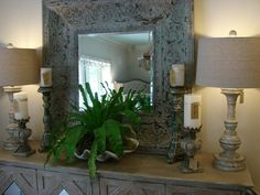 2 lamps are always better than 1 when you have an exquisite mirror in the middle!