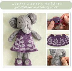 This pattern is written in English only. This listing is for an extensive PDF file which contains full instructions for knitting and finishing off a little elephant girl in a frondy frock. Once paid for it is available for you to instantly download. The finished elephant is approx 23cm (9...