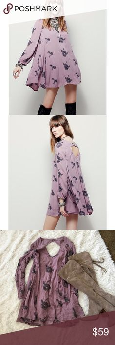 "NWOT Free People Swing Tunic Newpurple with dark grey embroidery 3/4 sleeve swing tunic dress (""Austin Emma""). There is one tiny spot of fading, that I honestly didn't notice til closely inspecting. OFFERS WELCOME. Free People Dresses Mini"