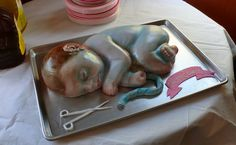 So I'm looking around for ideas for a baby shower and I come across this...the creepiest thing I have ever seen!!!  I don't imagine too many people ate cake at that shower.  Eww!!!