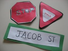 Transportation---I like the street name signs. It would be a good writing activity to go with transportation theme---the children would write or trace their own names. Creative Curriculum Preschool, Preschool Lessons, Toddler Preschool, Preschool Activities, Toddler Crafts, Kids Crafts, Preschool Weather, Preschool Projects, Daily Activities