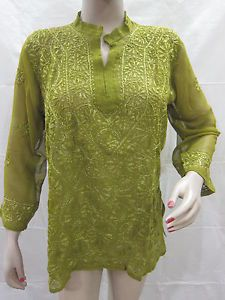 Embroidered Kurti Floral Pattern Georgette Casual Green | eBay
