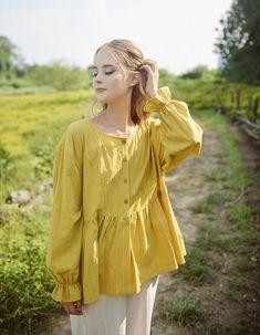 Summer Cotton Top Women Yellow Blouse Babydoll Linen Shirt   Etsy