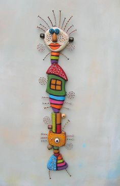 Totem Girl, Original Found Object Sculpture, Wall Art, Wood Carving, Wall Decor, by Fig Jam Studio