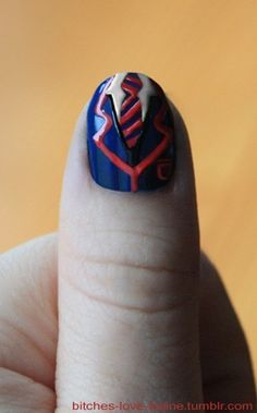 Original desc: Warblers inspired nail!    This is cool, gotta try it for a formal soon! Hehe