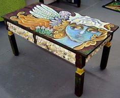 Made To Order Funky Folk Angel Art Coffee Table by Dee Sprague, via Etsy. Art Furniture, Funky Painted Furniture, Diy Garden Furniture, Painted Chairs, Upcycled Furniture, Unique Furniture, Willow Furniture, Furniture Stores, Cheap Furniture
