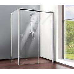 Porte de douche coulissante 100 cm, transparent, Adena French Farmhouse, Farmhouse Style, Transparent, Bathtub, Bathroom, Inspiration, Home, Leroy Merlin, Deco
