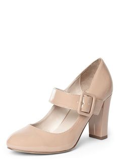 Nude 'Deborah' Mary Jane Court Shoes