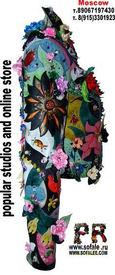 Handmade women's short leather jacket with flowers 14.jpg (700×1669)