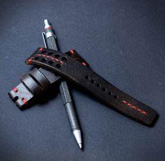 2220 mm dark brown leather watch strap handmade
