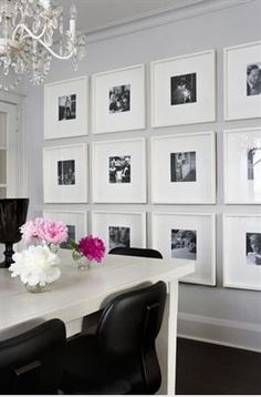 Mount pictures in black and white as art for one wall. Or you can have each thin frame a different color with the white backing and b/w photo.