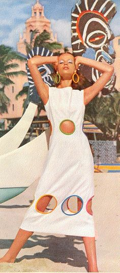 Verushka 60's Summer Style. Summer beach dress with cut-outs