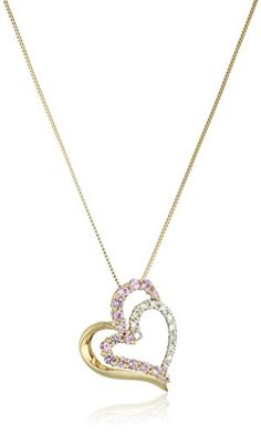 10k Yellow Gold Necklace with Pink Sapphire and Diamond Heart Pendant 18 *** More info could be found at the image url.Note:It is affiliate link to Amazon.